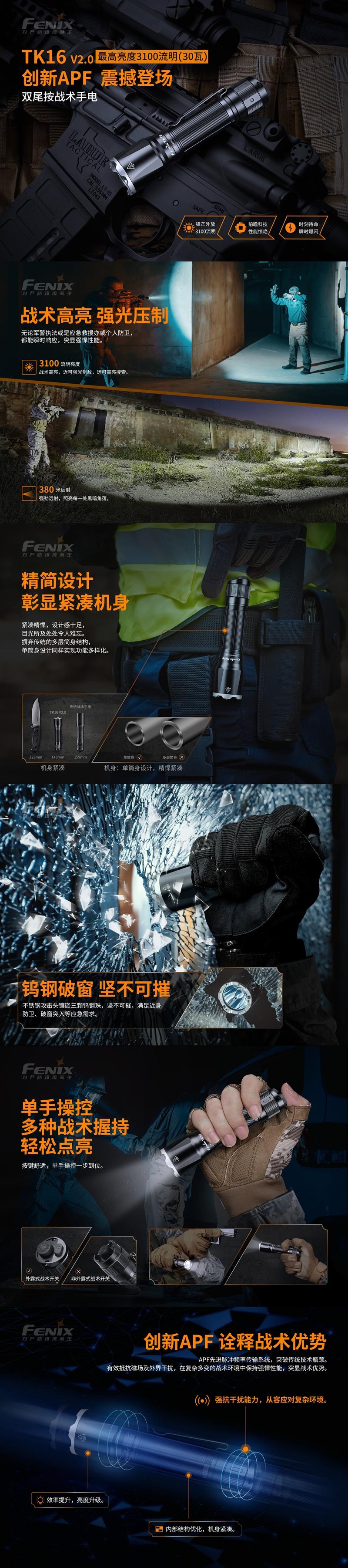 1戰術雙尾按手電筒 FENIX TK16 V2.0 3100流明  標配21700電池 (1)