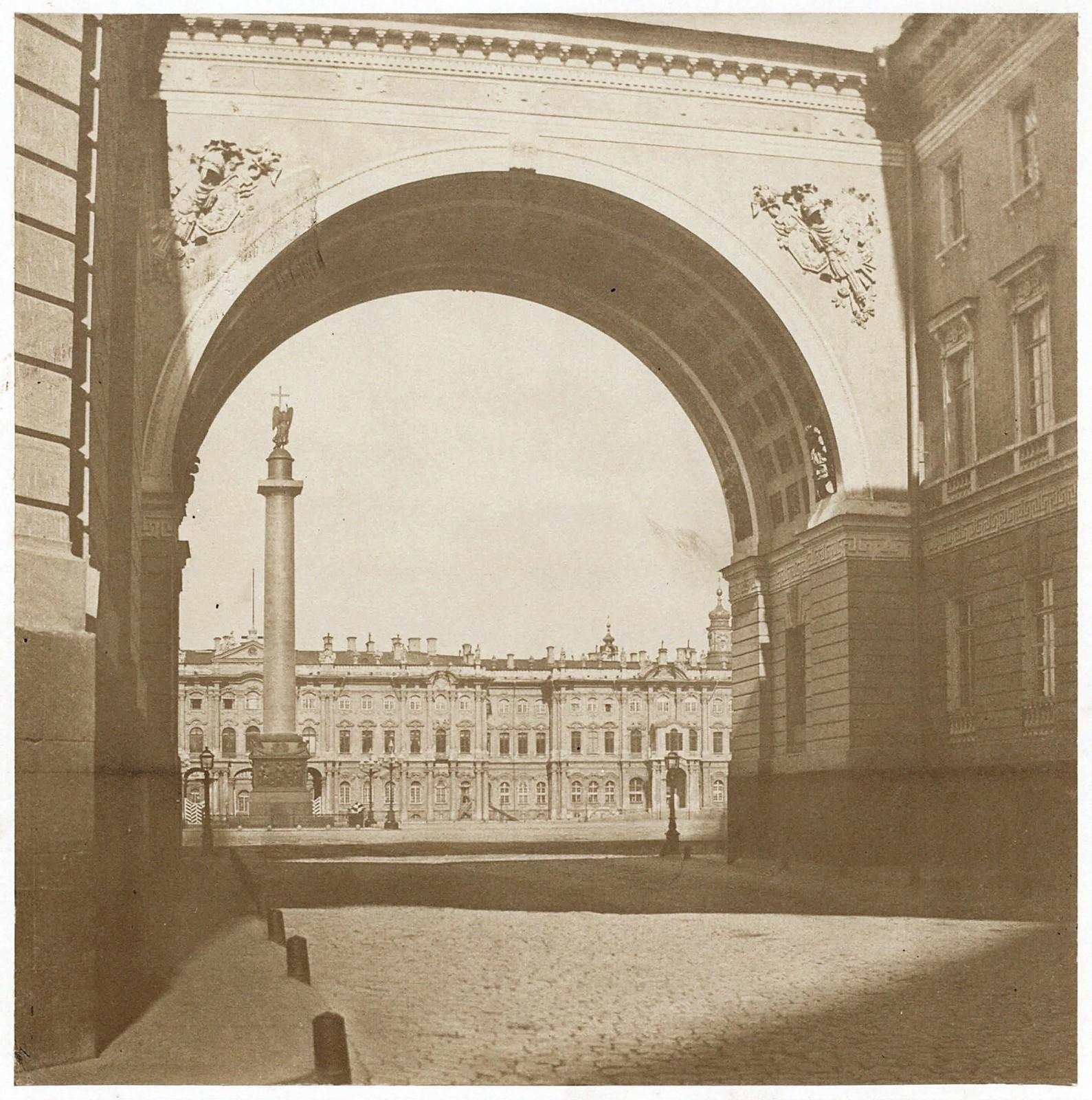 Дворцовая площадь с Александровской колонной. 1850-е (до 1855)