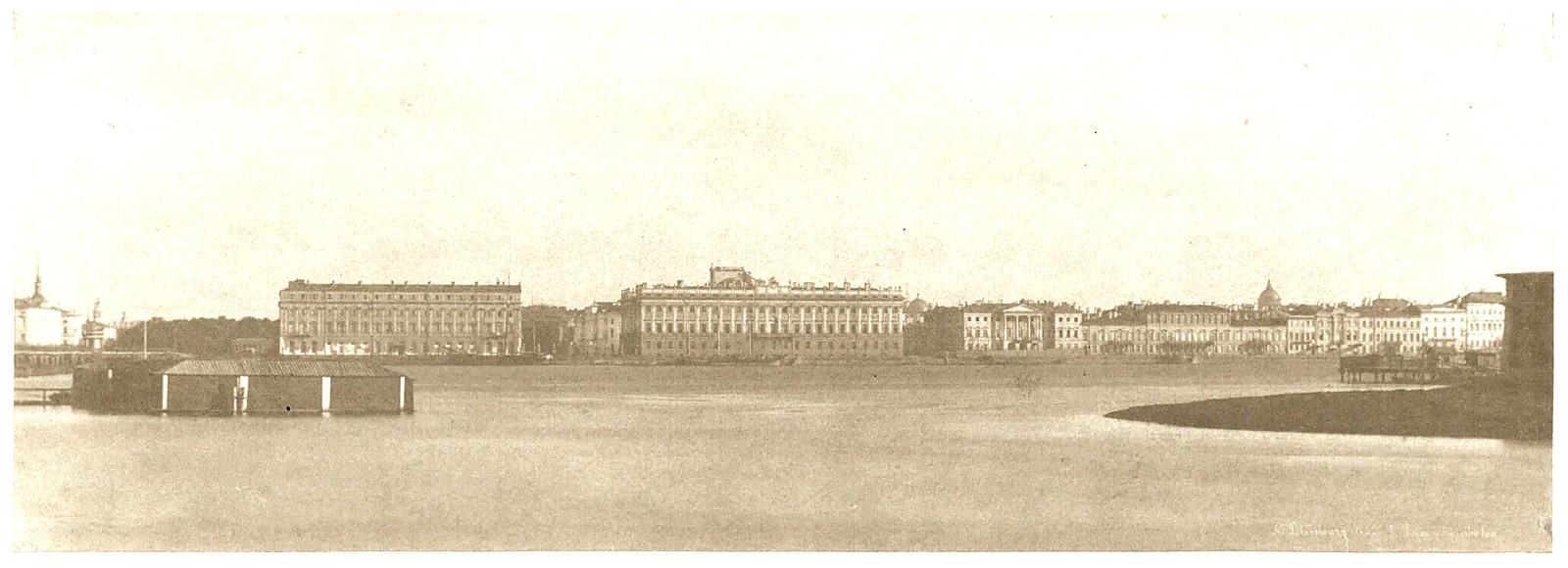 Дворцовая набережная, вид от Петербургской стороны. 1853