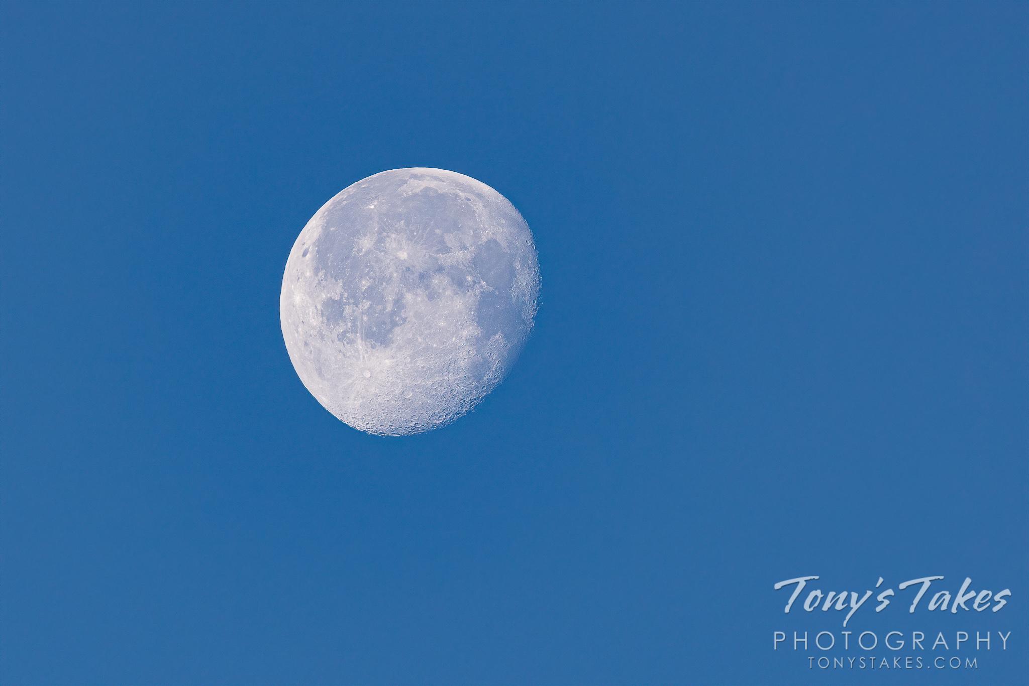 Daytime waning gibbous moon