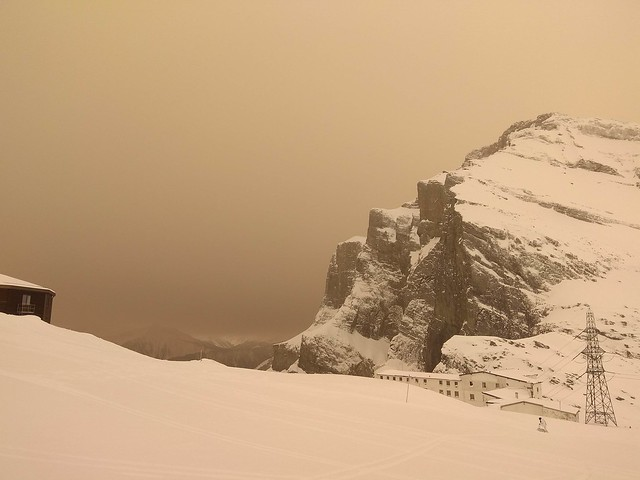 Sahara dust in Gemmipass, Swiss Alps. Image with no filter