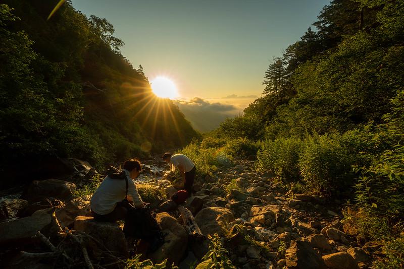 常念岳の登山道
