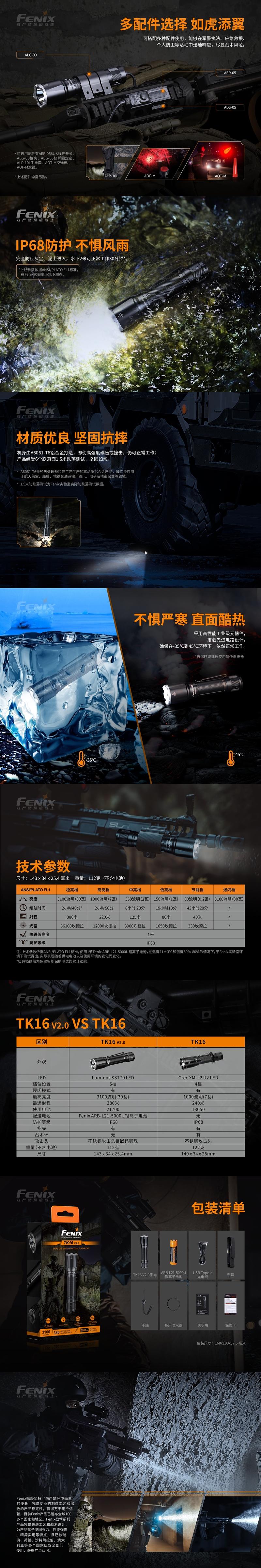 2 戰術雙尾按手電筒 FENIX TK16 V2.0 3100流明  標配21700電池 (1)