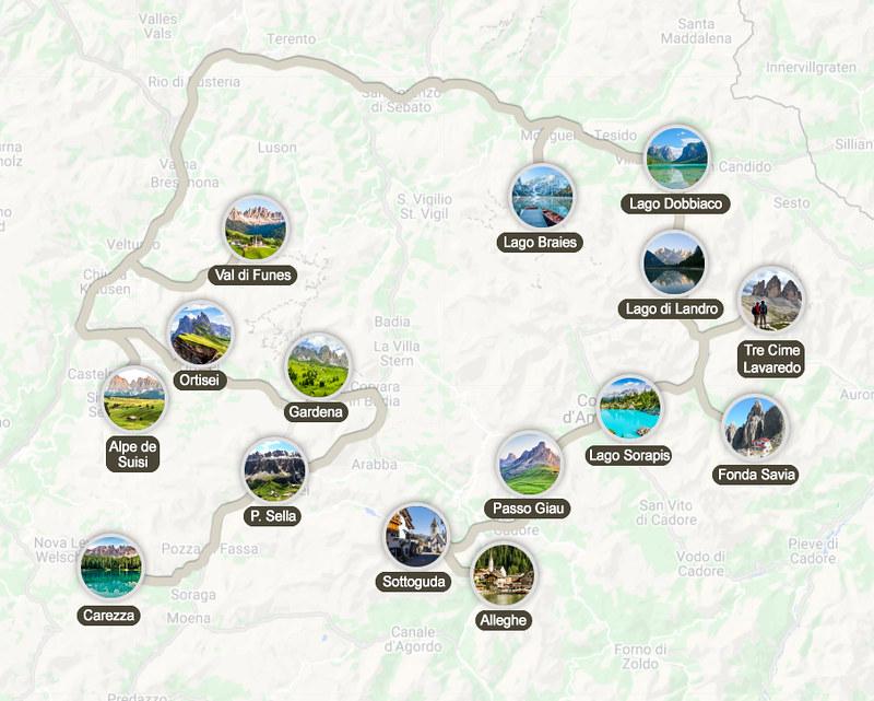 Mapa de la ruta por los Dolomitas en 7 días