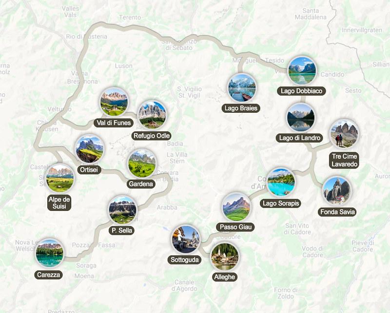 Mapa de la ruta por los Dolomitas en 8 días