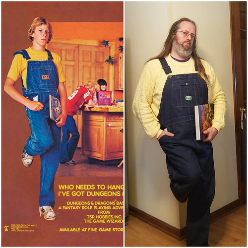 This old D&D ad comes around every so often, so I figured I'd take a whack at it. I don't have a mustard yellow T-shirt, so I made do with my yellow sweater. I'm happy that I could wear the same brand of overalls, though! . Second pic: Carla wanted in on