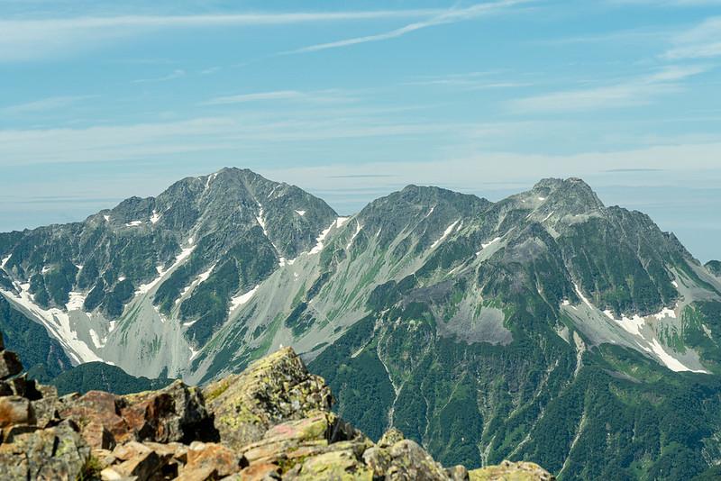常念岳から穂高連峰