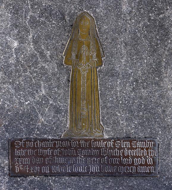 Stanton Harcourt, Oxford, St. Michael's, brass memorial, detail