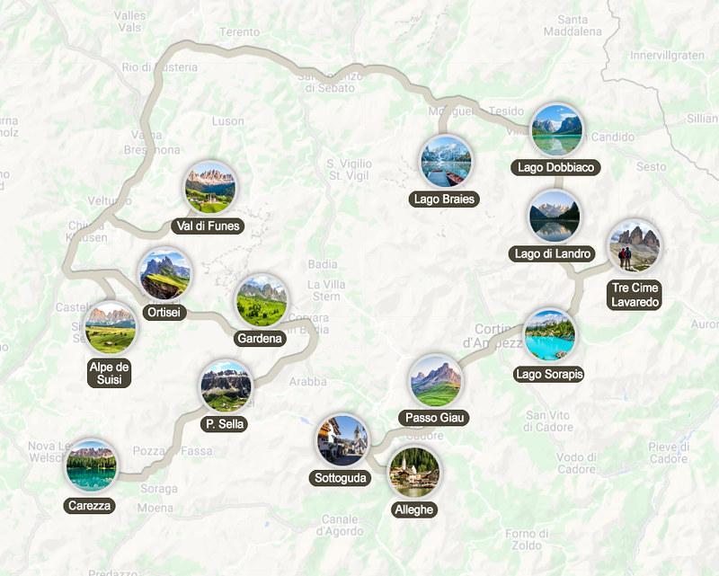 Mapa de la ruta por los Dolomitas en 5 días
