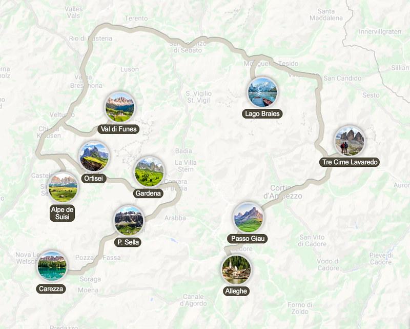Mapa de la ruta por los Dolomitas en 3 días