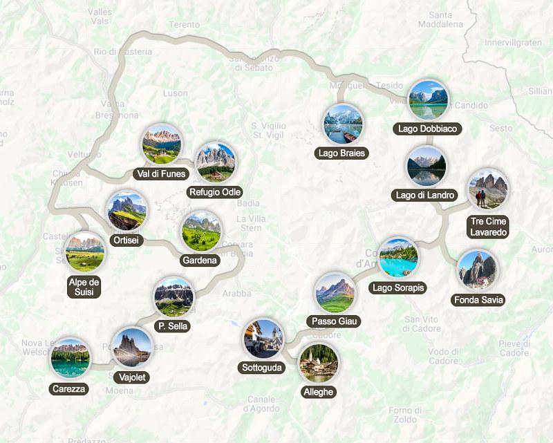 Mapa de la ruta por los Dolomitas en 10 días