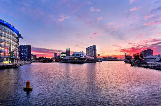 Media City Salford UK sunrise