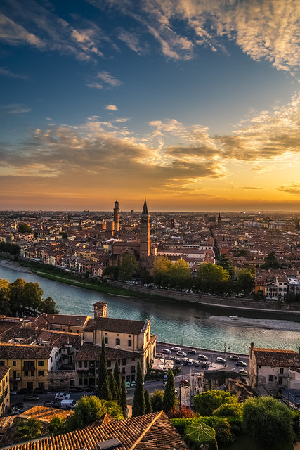 Verona at sunset
