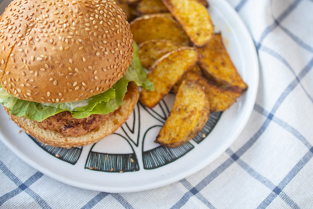 Turkey Burger and Potato Wedges on a Plate