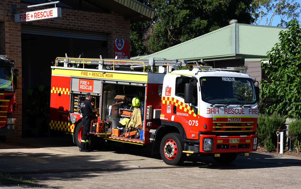 Fire Engines, Fire Station, Berowra, Sydney, NSW.