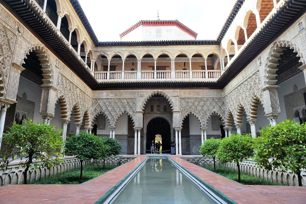 One of the interior gardens of the Alcazar of Seville