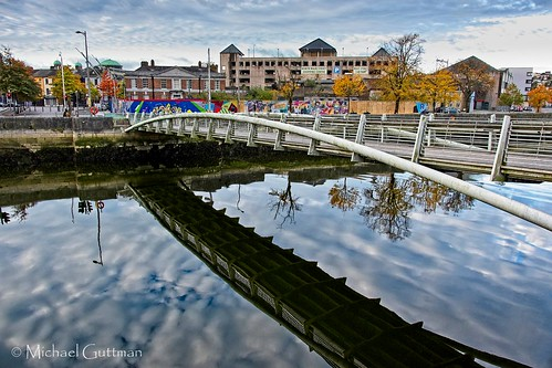 ireland cork bridge reflection river