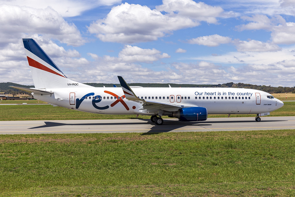 Rex Airlines (VH-RQC) Boeing 737-8FE(WL) taxiing at Canberra Airport (7)