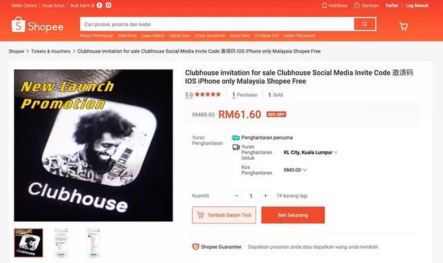 Jemputan Clubhouse Dijual Pada Harga Melangkaui Rm60 Di Shopee
