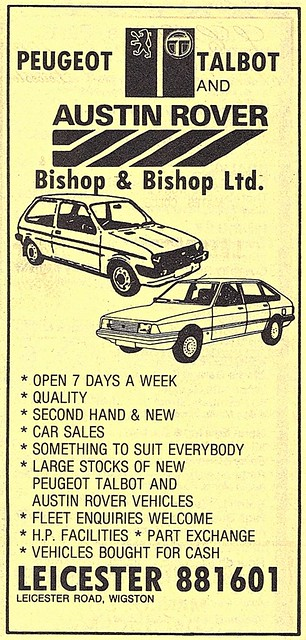 1983 ADVERT - BISHOP AND BISHOP AUSTIN ROVER PEUGEOT TALBOT MAIN DEALERS - LEICESTER ROAD WIGSTON LEICESTERSHIRE