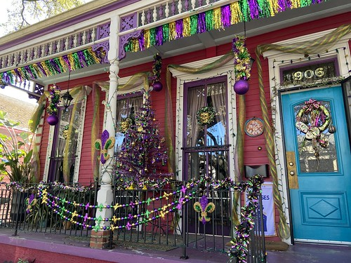 Yardi Gras house float on Washington Ave in Irish Channel - Feb. 7, 2021. Photo by Carrie Booher.