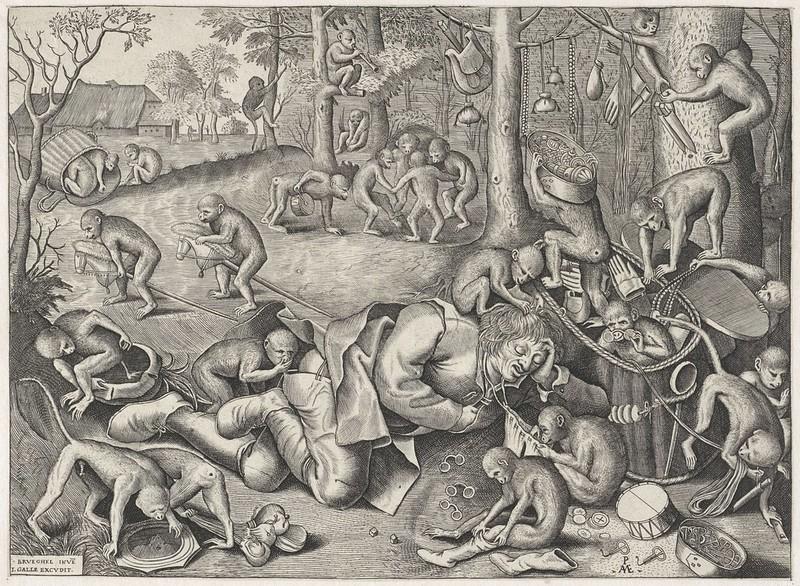 Pieter van der Heyden, After Pieter Bruegel the Elder - The Peddler Pillaged by Apes, 1562