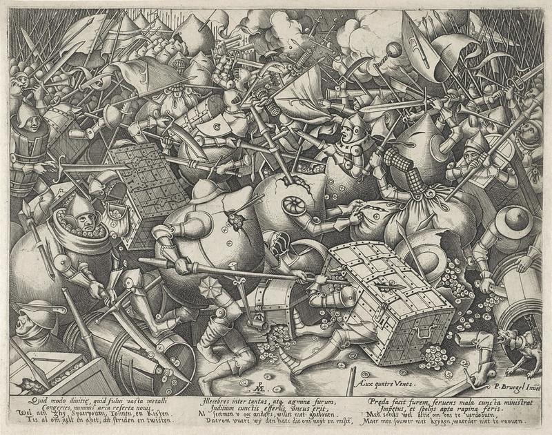 Pieter van der Heyden, After Pieter Bruegel the Elder - The Fight of the Money Bags and Strong Boxes, 1570-1601