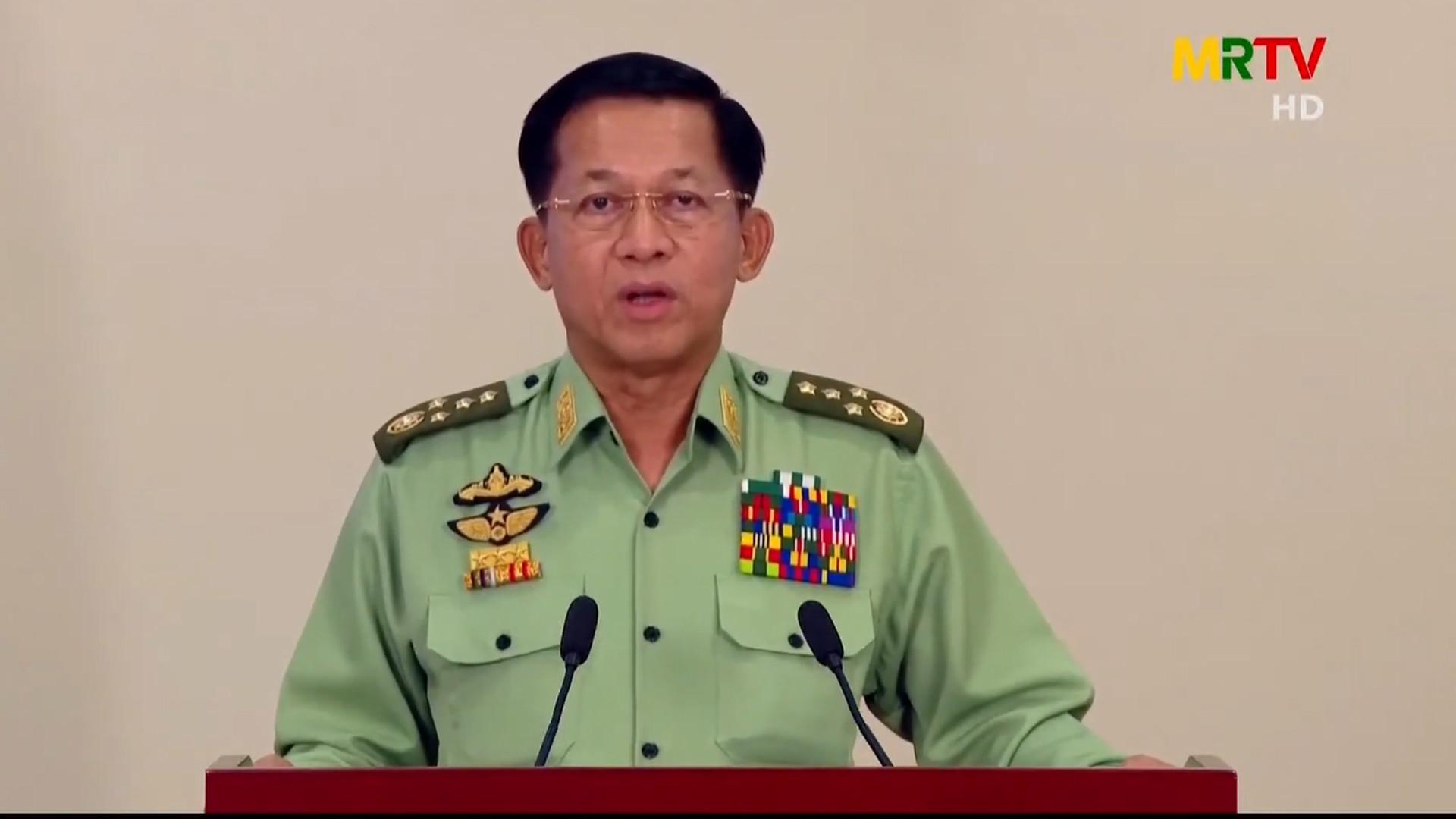 พล.อ.อาวุโส มินอ่องหลาย ผู้บัญชาการกองทัพพม่า แถลงเมื่อ 8 ก.พ. 64 (ที่มา: MRTV)