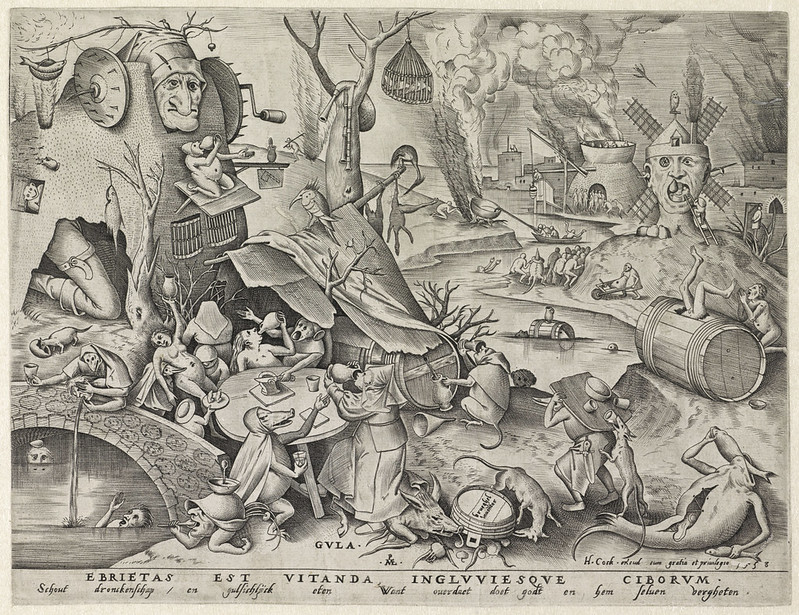 Pieter van der Heyden, After Pieter Bruegel the Elder - Gluttony, 1558