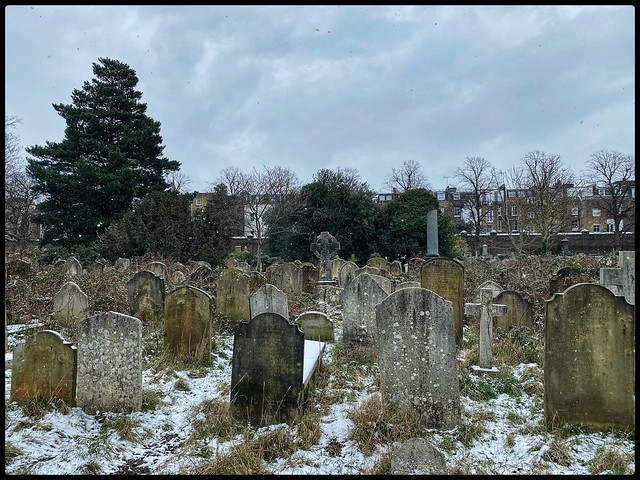 Brompton Cemetery in the snow