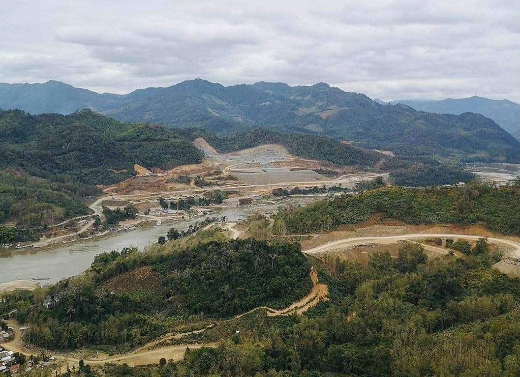 ภาพการก่อสร้างเขื่อนบนแม่น้ำโขง