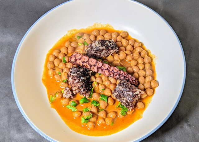 Braised octopus, morcilla and chickpea stew