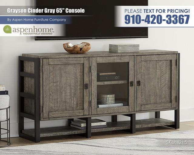 Grayson Cinder Gray 65 in Console I215-265-CIN_BTY