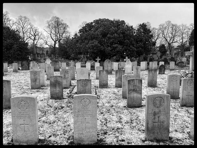 Brompton Cemetery in the snow