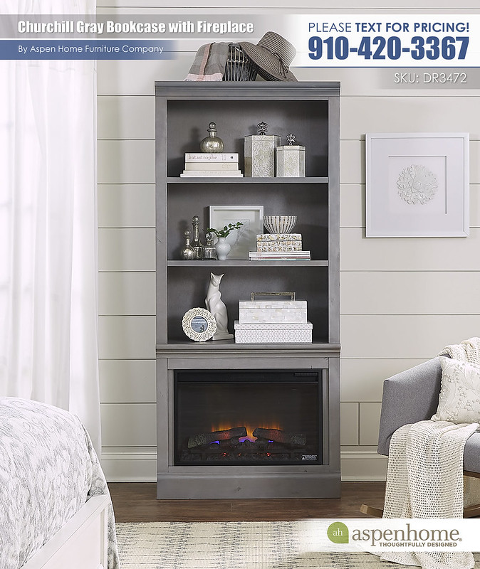 Churchill Gray Bookcase and Fireplace DR3472_12-GRY_BTY