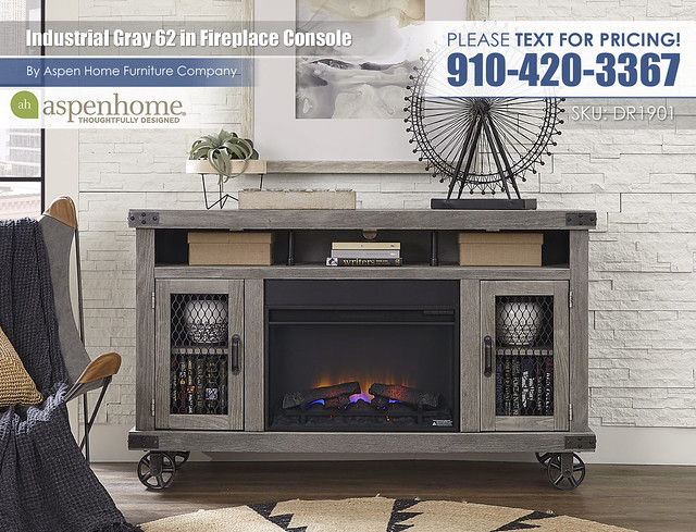 Industrial 62 in Console with Fireplace WMN1901-LGH_BTY