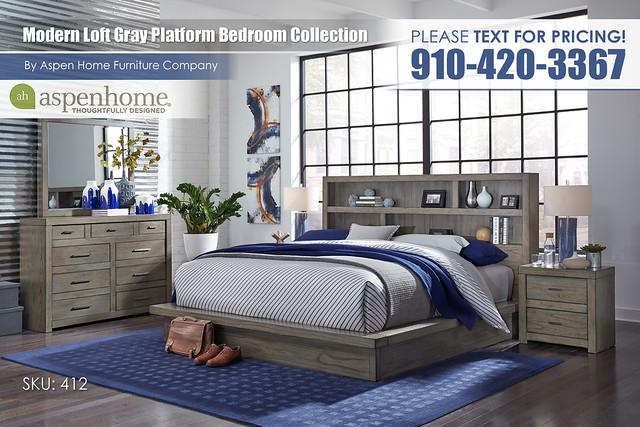 Modern Loft Gray Bedroom IML-R-474_475_476_450_455_463-GRY