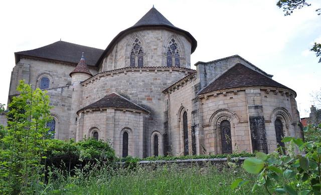 Chevet, église romane St Sauveur, Figeac, Quercy, Lot, Occitanie, France