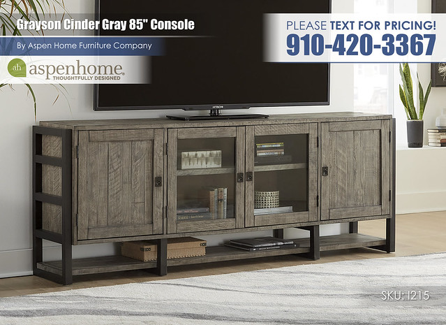Grayson Cinder Gray 85 in Console I215-284-CIN_BTY