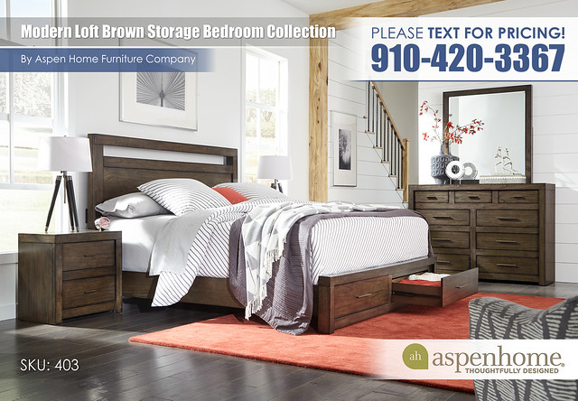Modern Loft Storage Bedroom IML-R-415_407D_406_450_455_463-BRN_Open