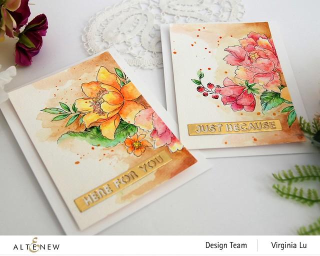 Altenew-Watercolor Coloring Book-Woodless Watercolor Pencil 24 Set -Essential Setiment Strips Die
