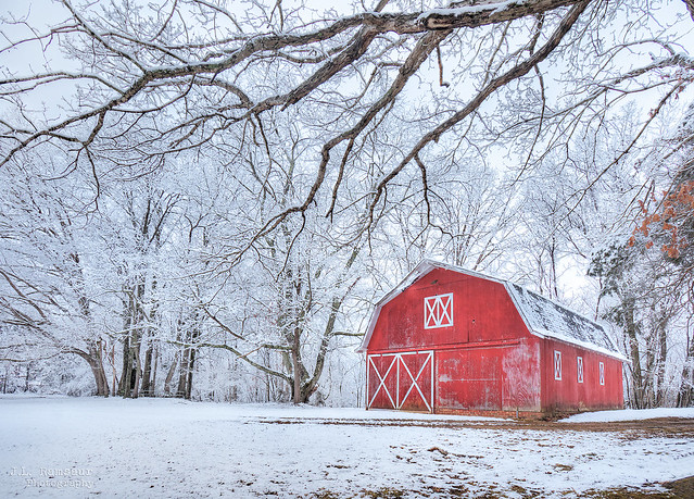 Snowy Red Barn - Cookeville, Tennessee