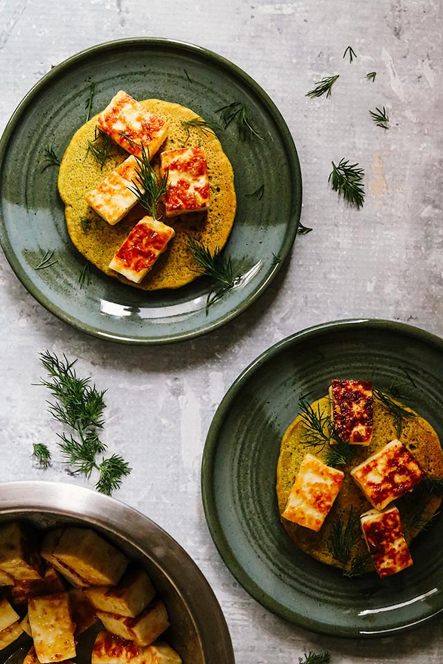 Savory Chickpea Pancakes with Mango Paneer