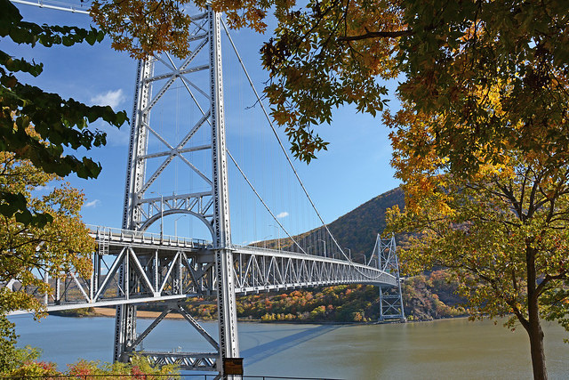 Picture Of Bear Mountain Bridge Taken In Orange County Looking Towards Westchester County. Notice The Fall Foliage With The Changing Color Of The Tree's. Photo Taken Sunday October 27, 2013