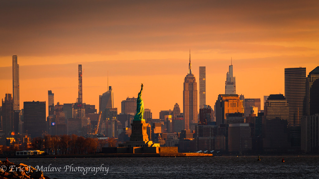 Statue of Liberty, NYC Skyline Sunrise