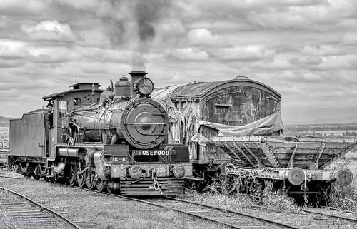 c17 train steamtrain locomotive blacksandwhite rosewoodqueensland australia rosewoodrailwaymuseum perrysknob consist locomotive720 arhsqld classc17 queenslandrail