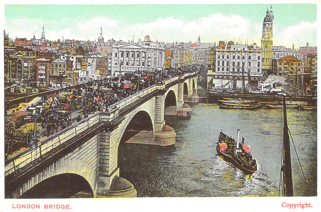 London Bridge Prior to 1904. And the Crash of a Hawker Biplane Bomber.