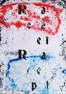 Zavier Ellis 'Repeat (Repeat) IV (Tricolour)', 2021 Acrylic, emulsion, spray paint on photographic gloss print 42x29.7cm