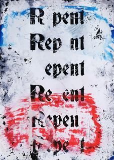 Zavier Ellis 'Repent (Repeat) I (Tricolour)', 2021 Acrylic, emulsion, spray paint on photographic gloss print 42x29.7cm