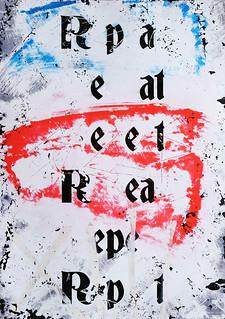 Zavier Ellis 'Repeat (Repeat) III (Tricolour)', 2021 Acrylic, emulsion, spray paint on photographic gloss print 42x29.7cm